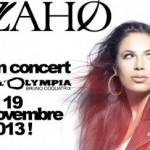 Zaho en concert à l'Olympia et dans toute la France.