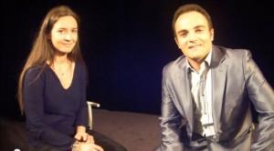 """Emmanuelle Boidron et Laurent amar lors du tournage de """"Paroles de comédien"""" en 2010."""