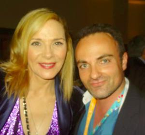 Kim Cattrall et Laurent Amar lors du Miptv 2014 à Cannes.