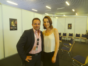 Laurent Amar et Ayelet Zurer après l'interview au Forum Grimaldi