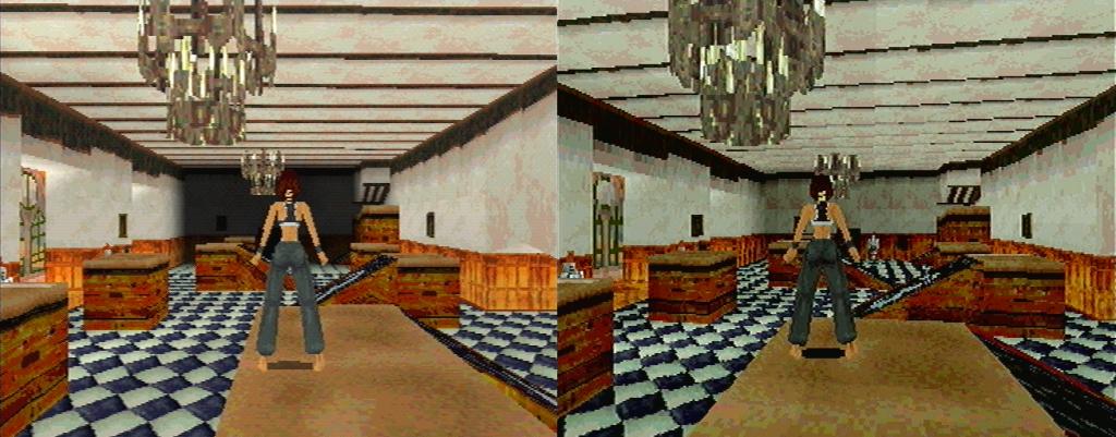 Tomb Raider 1: à gauche sur Playstation, à droite sur Saturn.