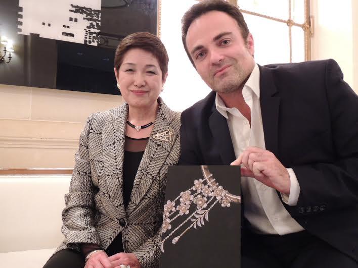 Madame Yoshie Ishikawa et Laurent Amar à l'hôtel Meurice, juste après l'interview.