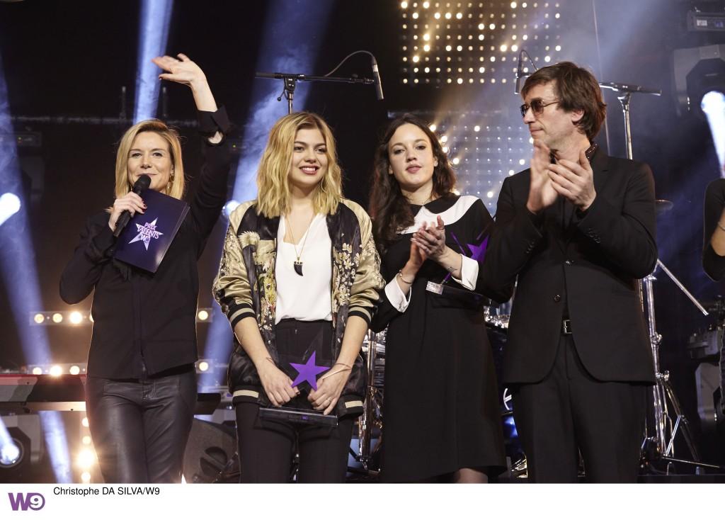 De gauche à droite: Louise EKLAND, Louane, Jain et Thomas DUTRON