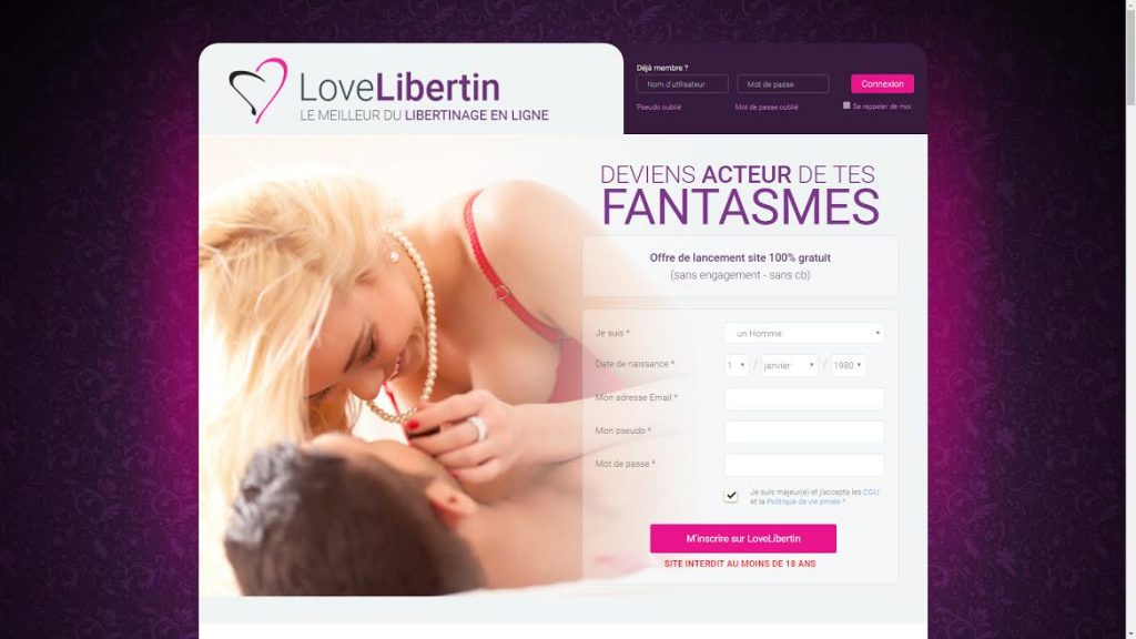 La page d'accueil de Love-Libertin