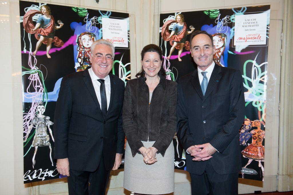 Jean-Michel Aubrun, la ministre des Solidarités et de la Santé, Agnès Buzyn et Hervé Michel-Dansac