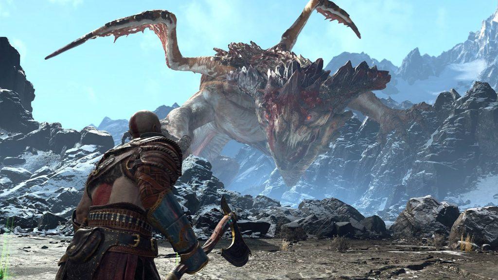Kratos face au dragon dans une séquence époustouflante.